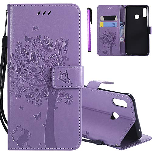 ISADENSER Huawei Y9 2019 Case [Wallet Stand] as Gift with Cards Slot Holder Cash Pockets PU Leather Shock Absorbent Protective Phone Cover for Huawei Y9 (2019) / Enjoy 9 Plus Lavender Cat Wish Tree