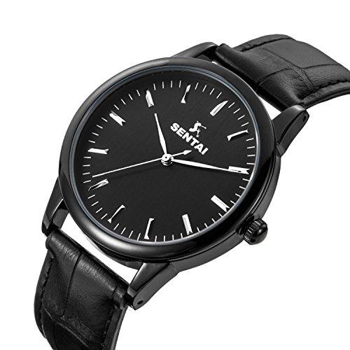 スーパー戦隊シリーズユニセックスレザーWatch ,ステンレススチールクォーツメンズレディースレザー腕時計、クラシックビジネスカジュアルユニセックスの腕時計30M防水 ブラック