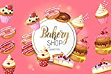 Baocicco 5x4ft Pink Background for Bakery Shop Sweet Lift Photography Backdrop Happy Birthday Baby Shower Straberry Cherry Blueberry Cupcake Doughnut Donut Merchant Shop Room Wall Decor Photo Props