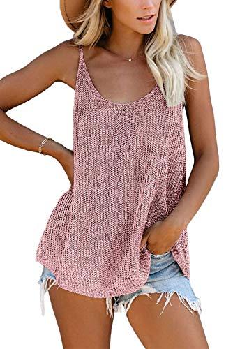 GOLDPKF Cute Summer Plus Size Strick Tanktops für Damen Loose Fit Casual Loose Ärmellose Cami Clearance Stillbluse T Shirts Rosa M 40-42
