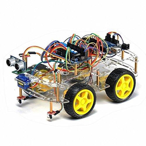 TBS2653 Kit de montage complet Arduino Voiture Robot 4WD intelligente avec détecteurs d'obstacles à ultrason et infrarouge - Kit d'apprentissage DYI programmable - 4WD Arduino Smart Car Robot Learning Starter Kit Smart Programmable Robot DIY FR