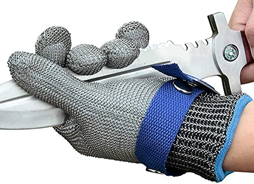Schwer 2.0 Upgraded Version of Level 9 Cut Resistant Glove Upgraded Cutting Glove Durable Rustproof Reliable Stainless Steel Mesh Metal Wire Glove Latest Material Cutting Glove,with additional White Glove as a liner(L)