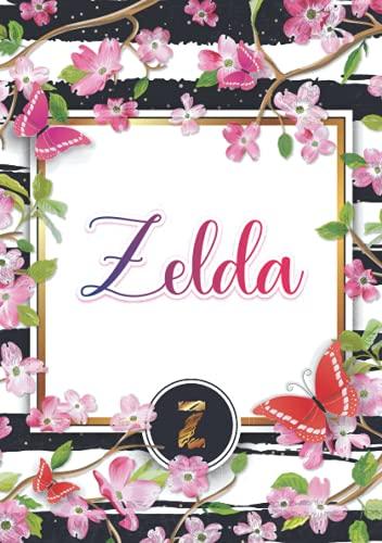 Zelda: Carnet de notes A5   Prénom personnalisé Zelda   Monogramme : Z   Cadeau d'anniversaire pour fille, femme, maman, copine, sœur ...   120 pages lignée, Petit Format A5 (14.8 x 21 cm)