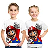 スーパーマリオキッズTシャツ3Dカジュアル半袖Tシャツ 98523,140cm