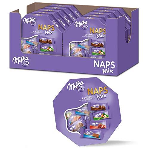 Milka Naps Mix 10 x 138g, Zartschmelzende Mini-Schokoladentäfelchen aus Alpenmilch, Erdbeer, Haselnuss und Crème au Cacao