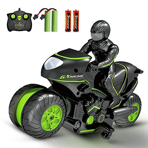 Sinovan Ferngesteuerte Auto Motorrad für Kinder, 2,4Ghz Ferngesteuertes Auto Doppelseitige Verdrehung 360 Grad Drehbares Rennauto mit 4 Batterien, Geschenke für Kinder