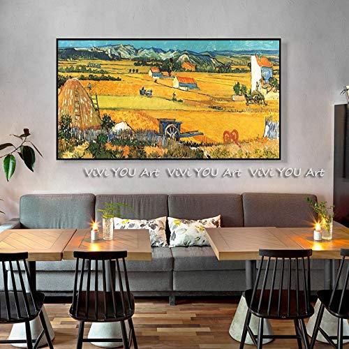 JXFFF Handgemalt DIY(40x60cm Kein Rahmen) Van Gogh ErnteDIY Ölfarbe durch Anzahl Kit Van Gogh SonnenblumeZuhause Wohnzimmer Büro Schlafzimmer Hotel Artwork Home Wanddekoration