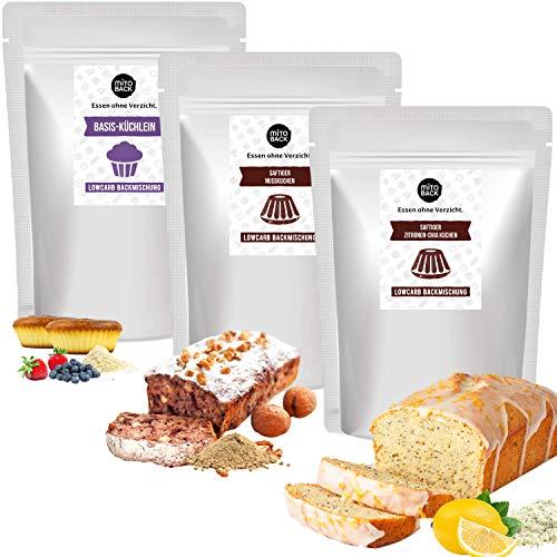 MITOBACK - 3er Set Kuchen Backmischung aus: 1 x Saftiger Zitronen-Chia Kuchen, 1 x Nusskuchen und 1 x Basis-Küchlein - Kuchenbackmischung im Probierset: Low Carb, Glutenfrei, Zuckerfrei, Mehlfrei