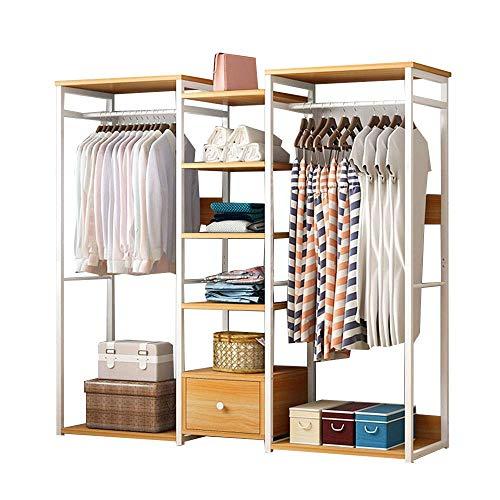 COLiJOL Perchero de pie de alto rendimiento para ropa, zapatos, sombreros, bolsos, cajas, gran capacidad de carga, color madera, 138 × 30 × 140 cm
