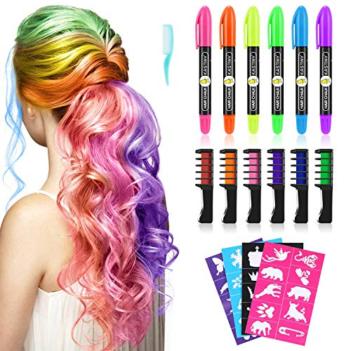 Haarkreide, Kastiny 6 Hair Chalk Geschenke für Kinder Mädchen, 6 Colorful Temporäre Haarfärbe-Stifte mit 32 Tattoos Schablonen für Karneval Halloween Weihnachten Party, Ungiftig & Auswaschbar