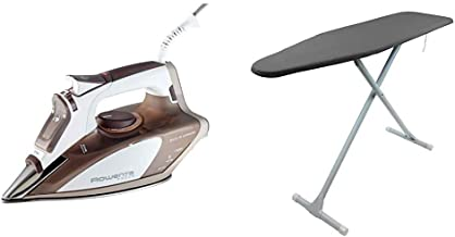 Rowenta DW5080 1700-Watt Micro Steam Iron Stainless Steel Soleplate with Auto-Off, 400-Hole, Brown & Homz Ironing Board T-...