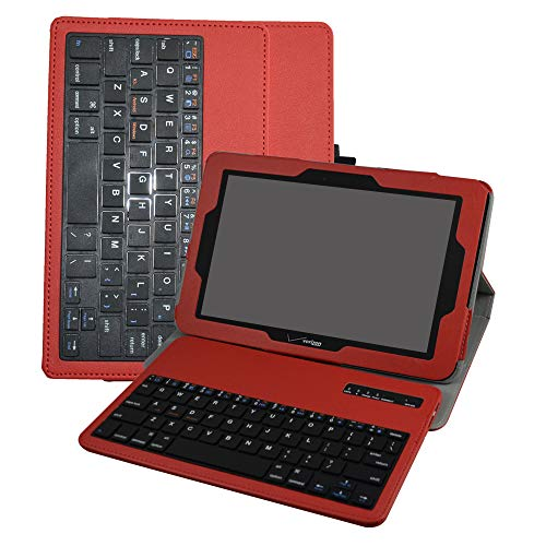 Verizon Ellipsis 10 Bluetooth Keyboard Case,Mama Mouth Coustom Design Slim Stand PU Leather Case Cover With Romovable Bluetooth Keyboard For 10.1' Verizon Ellipsis 10 Android Tablet,Red