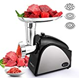Electric Meat Grinder, Meat Mincer with 3 Grinding Plates and Sausage Stuffing Tubes for Home Use &Commercial, Stainless Steel/Silver/1500W(Max)