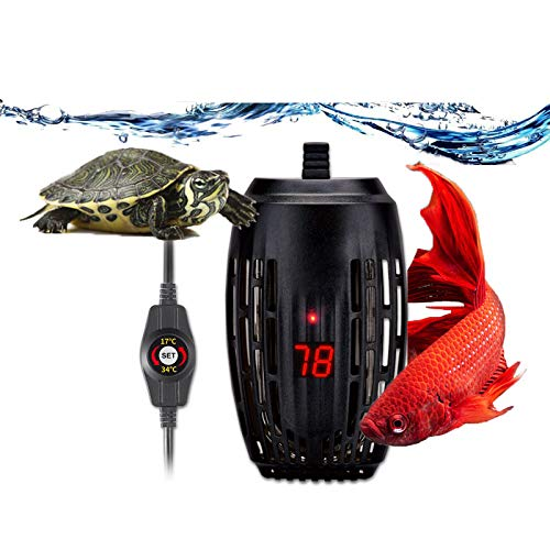 Aquarium Heater 100w Fish Tank Submersible Heater Turtle Heat Rod with Temperature Display External Temperature Controller for Betta Frogs Newts Turtles (100W with LED Display)
