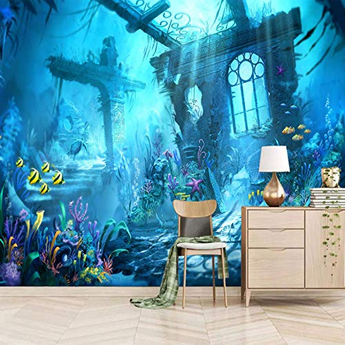 Msrahves fotomurales decorativos pared Azul plantas peces arquitectura pared vinilos decorativos papel fotografico 3D Fondos de pantalla Fondo Pared Sala de estar Dormitorio TV Sofá Mural Papel tapiz