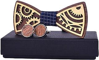 Fenical Papillon in legno classico fatto a mano creativo Hollow Craft Bowknot Cravatta Wedding Party Festival Decor
