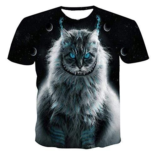 SSBZYES Camiseta De Gran Tamaño para Hombre Camiseta De Manga Corta para Hombre Camiseta De Hombre Y Mujer Suelta De Gran Tamaño con Estampado De Gato Animal 3D Camiseta Casual De Manga Corta para