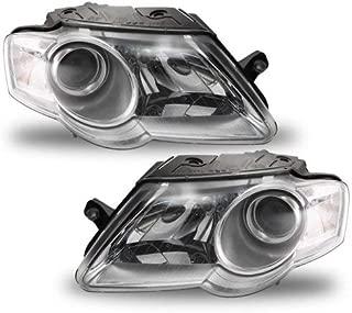 Headlight Compatible with 2006-2010 Volkswagen Passat Pair Halogen with Bulbs Clear Lens