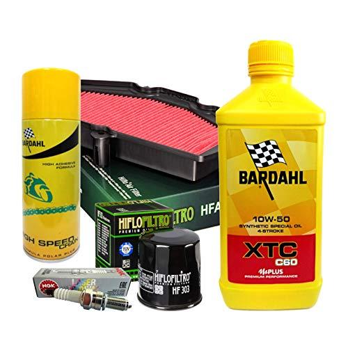 Kit de revisión Bardahl XTC 10W50 para filtro de aceite, aire, bujías, aerosol, Vulcan Versys 650