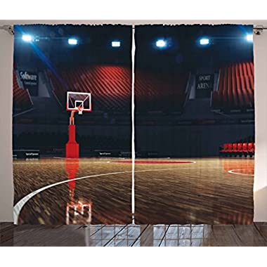 Ambesonne Sports Decor Curtains, Picture of Empty Basketball Court Sport Arena with Spot Lights and Wood Floor, Living Room Bedroom Decor, 2 Panel Set, 108W X 84L Inches, Brown Black and Red