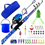 WIDDEN Upgrade Kids Fishing Pole Full Kits 5 FT Portable Telescopic Fishing Rod and Reel Combos with Tackle Box, Travel Bag for Girls, Boys, Youth, Blue