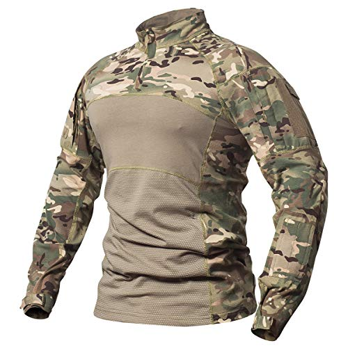 Herren Taktisch Kampfshirt Hemd Outdoor Tarnung T-Shirt Baumwollhemd für Airsoft Militär Military mit Tasche
