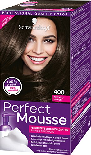 Schwarzkopf Perfect Mousse Lot de 3 colorations-mousses permanentes Marron foncé 400 niveau 3 (3 x 93 ml)