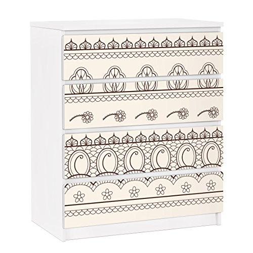 Apalis Möbelfolie für IKEA Malm Kommode Dekorfolie Indisches Rapportmuster 4X 20x80cm