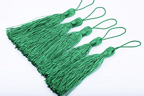 KONMAY 20pcs Silky Handmade Tiny(3.5'') Soft Craft Mini Tassels with Loops for Bookmarks Jewelry Making, Decoration DIY Projects (Kelly Green)