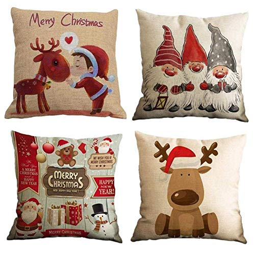 Namgiy 4 Pack Christmas Pillowcase, Cushion Case Cotton Printed Linen, Case Cushions Life Decor Sofa Bedroom Home Car 45x45 cm