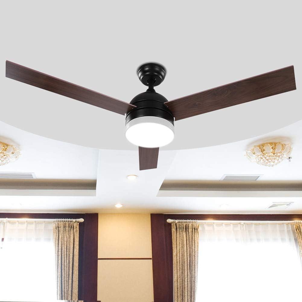 con ventilador de 3 aspas controlado por mando a distancia lyrlody 52 pulgadas 3 niveles de velocidad del viento Ventilador de techo l/ámpara de LED de abanico de acero inoxidable negro//blanco