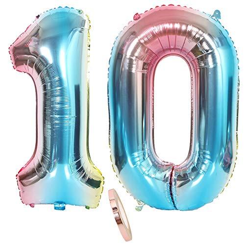 2 Luftballons Zahl 10, Nummer 10 Luftballon Regenbogen Mädchen Junge Jungs,32