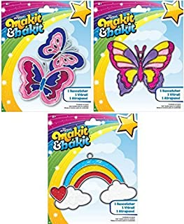 Suncatcher Kits - Butterflies, Large Butterfly, Rainbow with Clouds - by Makit & Bakit / Colorbok - stained glass art project for kids - Boys, girls, and children - Bundle of 3