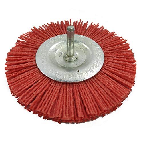 Nylon Cepillo, COTEY Afilado y Duradero Kit de Cepillos de Nylon Multifuncional Cepillo de Disco de Nylon Para Moler Madera y Pulir y Metal, Rojo(100 mm de Diámetro)
