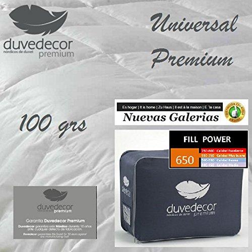 Duvedecor Relleno Nordico Universal Premium 98% Plumón 100grs/m2 confección KASSETTEN - Calidad 260X240