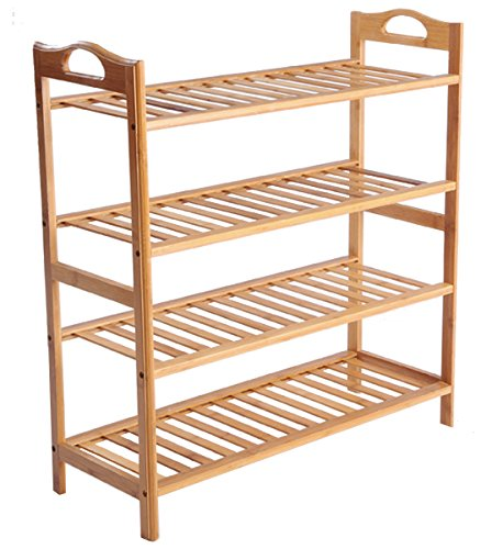 Cinlv 4 Tier 16 Pair Stackable Bamboo Shoe Rack Mesh Utility Shoe Tower Shelf Storage Organizer Cabinet for Entryway Closet Living Room Bedroom