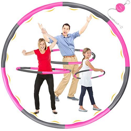DUTISON Hula Hoop, Hula Hoop Reifen Fitness Erwachsene, 6-8 Segmente Abnehmbar und GröSse Einstellbar Hoola Hoop Reifen für Gewichtsreduktion/Fitness/Sport mit Mini Bandmaß