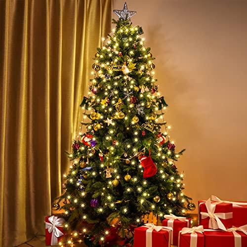 Luci Albero di Natale, Elktry 400LED 2M Mantello Luci Albero di Natale, Catena Luminosa con 8 Modalità Impermeabili per Albero di Natale 180/210/240/270cm, Bianco Caldo