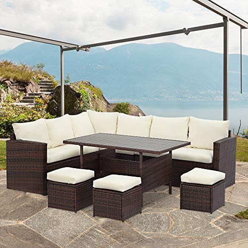 Wisteria Lane Patio Furniture Set, 7 PCS Outdoor Conversation Set All Weather Brown Wicker Sectional Sofa Couch Dining Table Chair with Ottoman,Ivory Cushion Normal Version