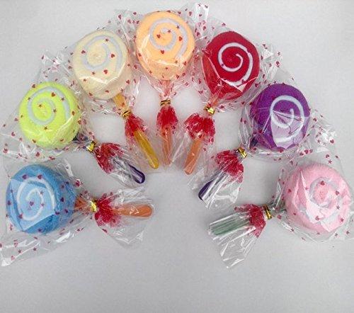 URBeauty 8PCS Lollipop Colorful Shape Rainbow Color Wash Cloth Cake Ornament Fiber Towel Present Wedding Party Favor Gift(Color Randomly)