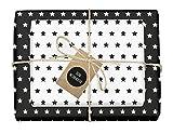 4x zweifarbiges Geschenkpapier'Weihnachten: Sterne schwarz-weiß' + 4x Anhänger (doppelseitige Bögen DIN A2, Öko-Recycling-Papier)