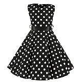 Julhold Kids Teen Kinder Mädchen Mode Elegant Vintage 1950er Jahre Retro Ärmellos Punktmuster Lässig Slim Kleid 3-12 Jahre