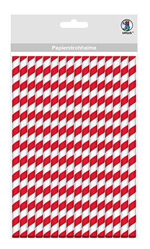Papieren rietjes met strepen motief in rood, biologisch afbreekbaar, geschikt voor levensmiddelen, waterbestendig, voor het vormgeven en decoreren, 16 stuks, lengte 19,5 cm, diameter 0,8 cm