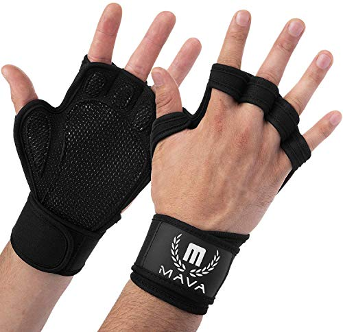 Mava Sports Ventilated Workout Gloves with Integrated Wrist Wraps Support
