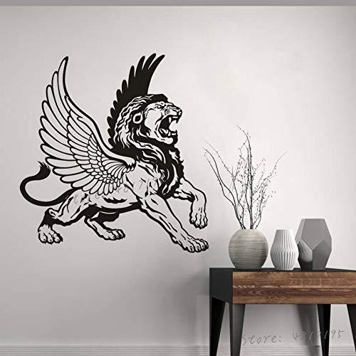 Lion and Eagle Wings Tatuajes de Pared Símbolos mitológicos griegos Pegatinas de Pared Decoración del hogar Arte León de alas Salvajes Mural de Vinilo de Pared 75x79cm