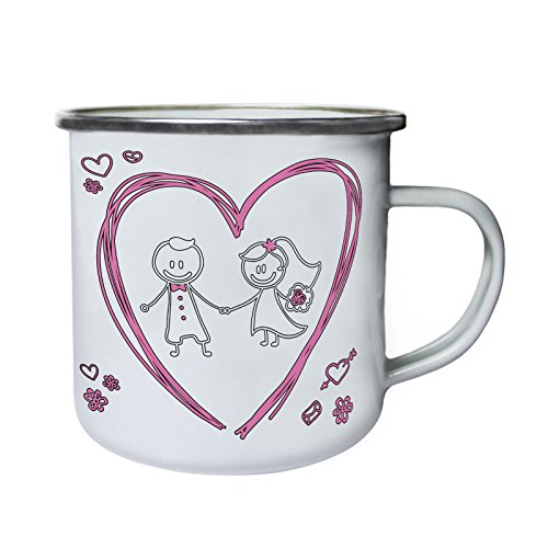 INNOGLEN Je t'aime Mon Amour Valentine Couple drôle Rétro, étain, émail Tasse 10oz/280ml c985e