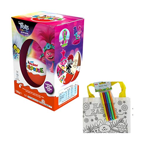 Kinder Surprise - Uovo gigante, 100 g (ideale per Pasqua), edizione limitata – Trolls Egg & Toys & Colour Your own Easter Bag