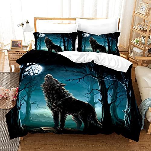 Juego de funda de edredón de microfibra suave (78 x 89.7 pulgadas) Lobo nocturno con cierre oculto. 2 fundas de almohada (19.5 x 29.25)