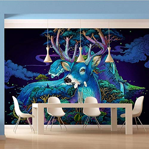 3D Foto muur handgeschilderde eland modern groot behang 3D woonkamer slaapkamer achtergrond wandbehang wgop 250 cm x 175 cm.