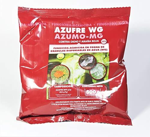 Fungicida acaricida Azufre WG mojable 80% 500grs. Tratamiento hasta 250 litros. Azufre amarillo mojable para vía foliar